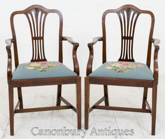 Pair Hepplewhite Mahogany Arm Chairs Carvers Dining