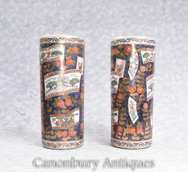 Pair Japanese Imari Porcelain Tall Vases Urns Umbrella Stands
