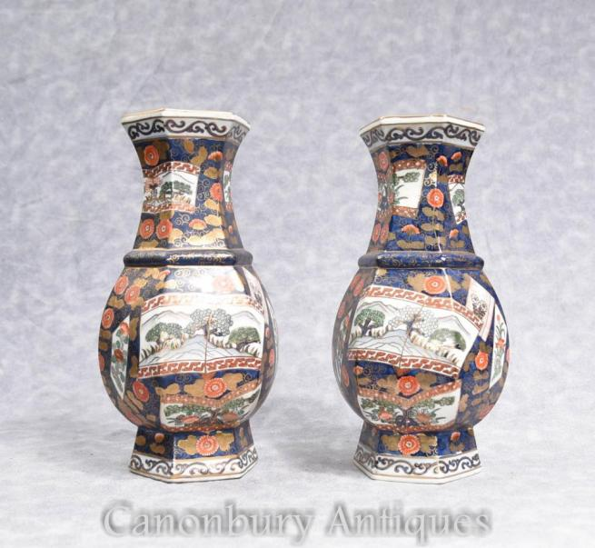 Pair Japanese Imari Porcelain Vases Urns Octagonal Form