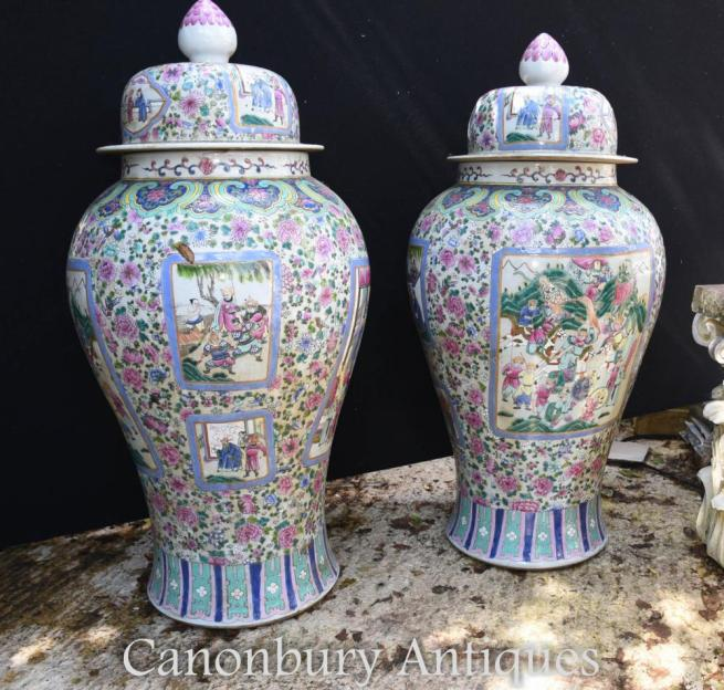 Pair Large Chinese Porcelain Ming Ginger Urns Lidded Vases