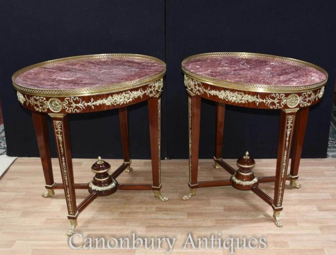 Pair Large Oval French Empire Side Occasional Tables