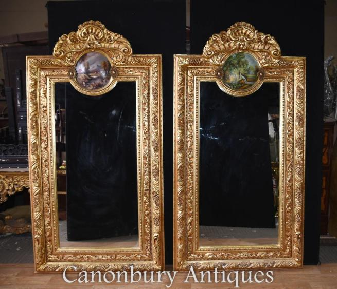 Pair Louis XV Gilt Pier Mirrors Painted Plaques