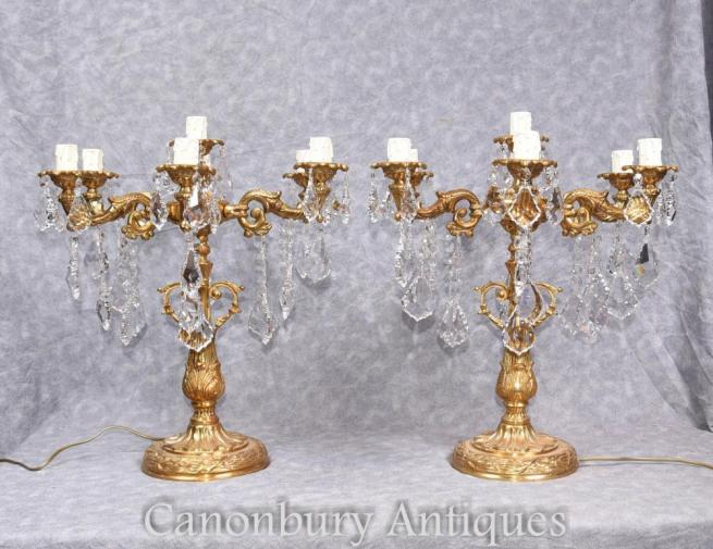 Pair Louis XVI Gilt Candelabras Table Lamps Ormolu