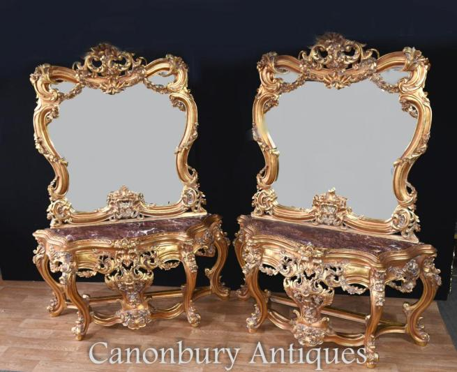 Pair Louis XVI Gilt Console Table Rococo Mirror Sets