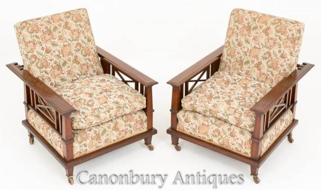 Pair Mahogany Arts and Crafts Reclining Arm Chairs 1910