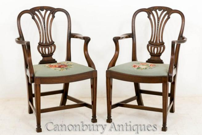 Pair Mahogany Hepplewhite Arm Chair Carverss