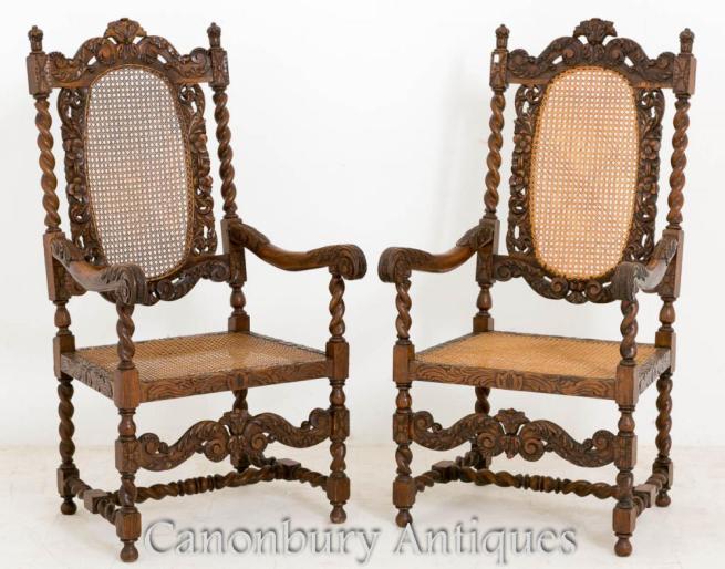 Pair Oak Carolean Farmhouse Arm Chairs 1880