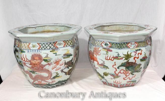 Pair Qianlong Chinese Porcelain Planters Octagonal Dragon Pots