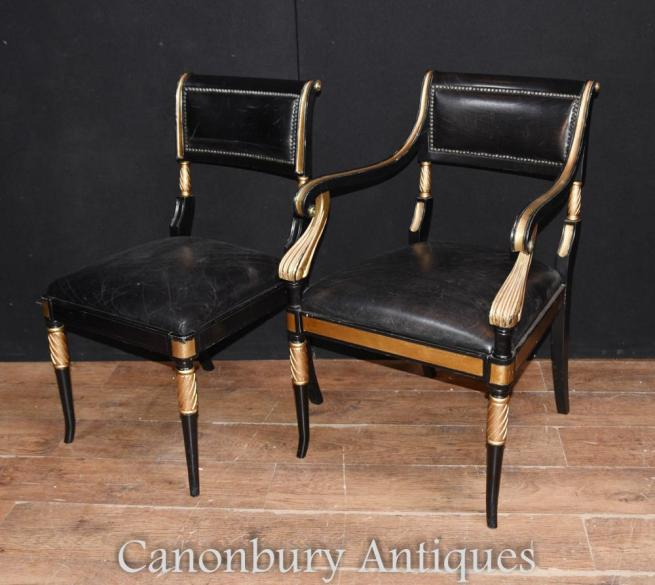 Pair Regency Lacquer Chairs Arm Chair Seat