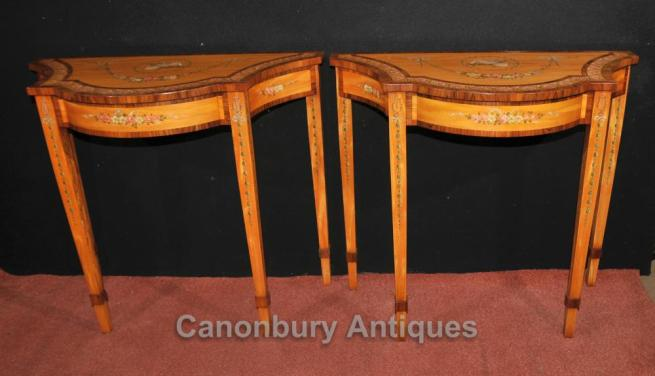 Pair Regency Painted Console Tables Satinwood Rosewood Interiors