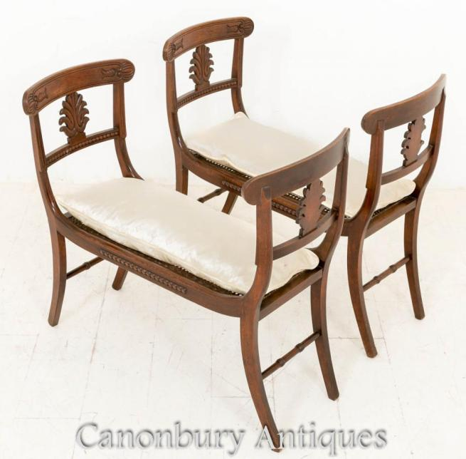 Pair Regency Simulated Rosewood Stools Window Seats 1800