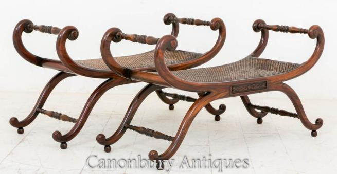 Pair Simulated Rosewood Stools Seats Cane Seat