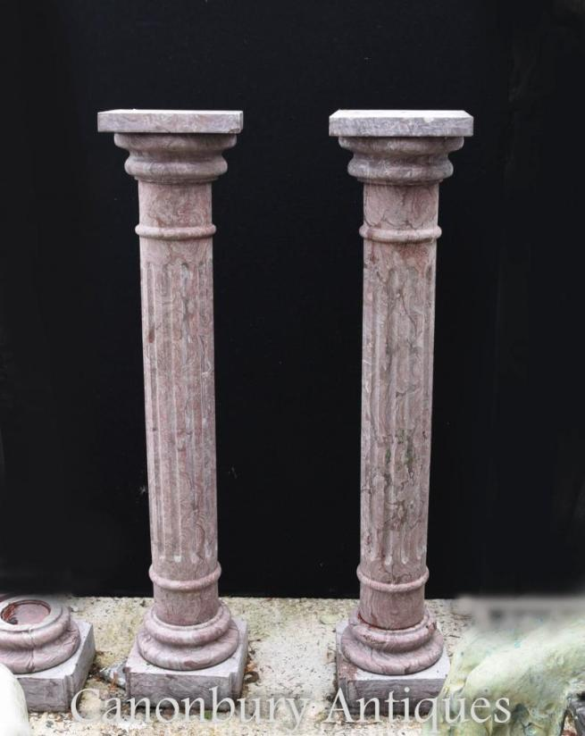 Pair Tall French Empire Marble Pedestal Stands Columns