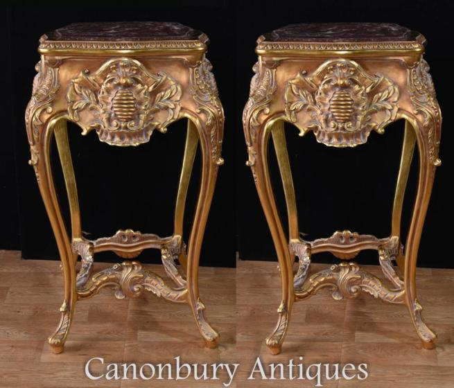 Pair Tall Louis XVI Gilt Pedestal Stand Rococo Tables Side Table