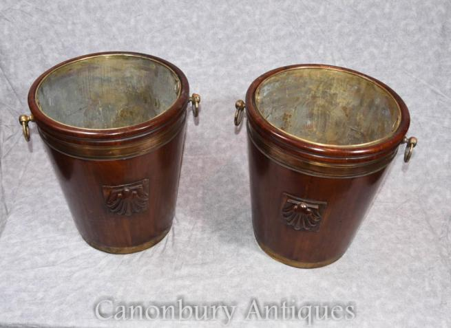 Pair Victorian Mahogany Peat Buckets Planters Pots Urns Brass