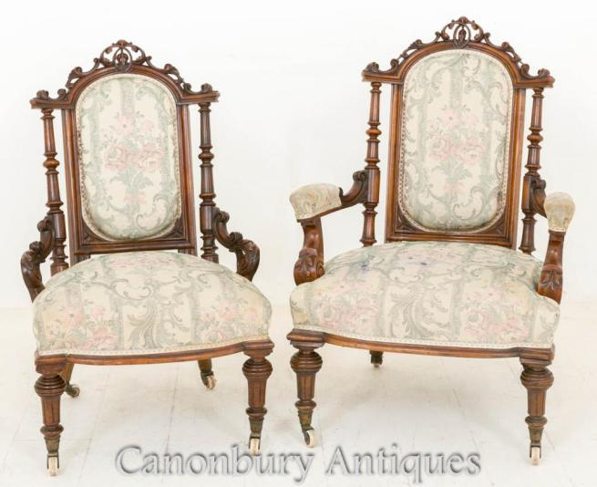 Pair Victorian Walnut Arm Chairs His and Hers Salon Chair 1860
