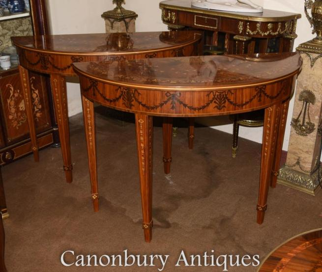 Pair Walnut Adams Demi Lune Console Tables
