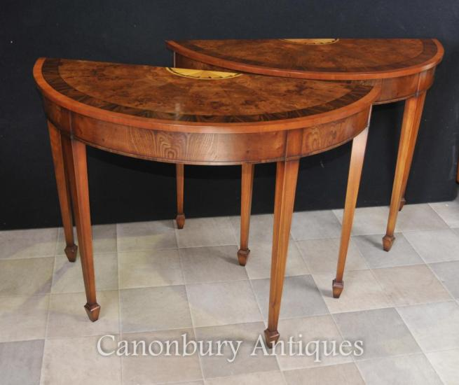 Pair Walnut Demi Lune Console Tables Hepplewhite Regency