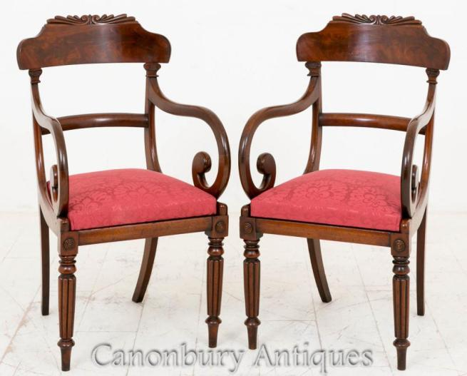 Pair William IV Arm Chairs Mahogany Carvers