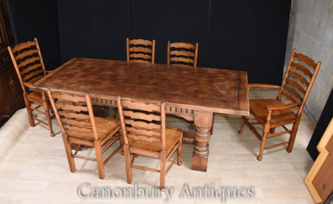 Refectory Table Ladderback Chairs Dining Suite - Farmhouse Kitchen Set