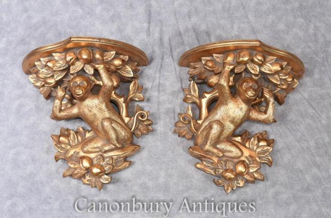 Regency Gilt Monkey Shelf Supports Book Shelves Interiors