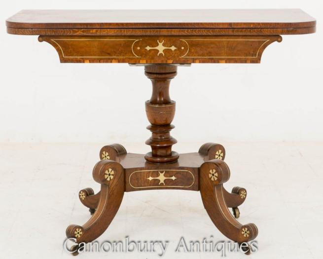 Regency Inlaid Tea Side Table Pollard Oak