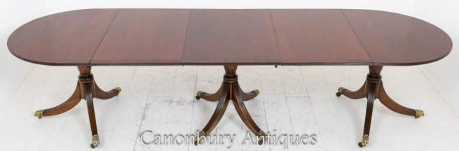 Regency Mahogany Pedestal Dining Table Extending
