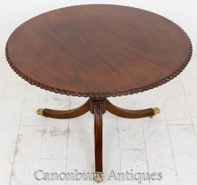 Regency Mahogany Round Dining Table Centre Tables