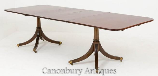 Regency Pedestal Dining Table in Mahogany