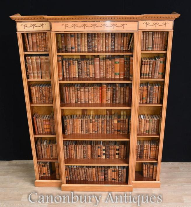 Regency Satinwood Open Bookcase Sheraton Inlay Breakfront Bookcases