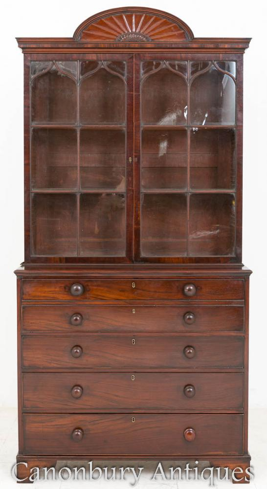 Regency Secretaire Bookcase Mahogany Cabinet Desk