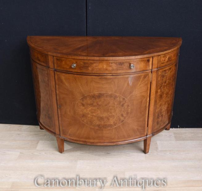 Regency Walnut Cabinet Sideboard Demi Lune Form