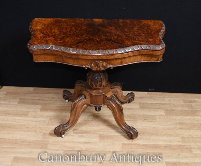 Regency Walnut Card Side Table Scalloped Edge