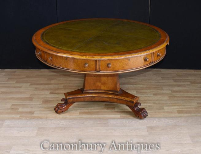 Regency Walnut Centre Table Leather Top Drum Tables