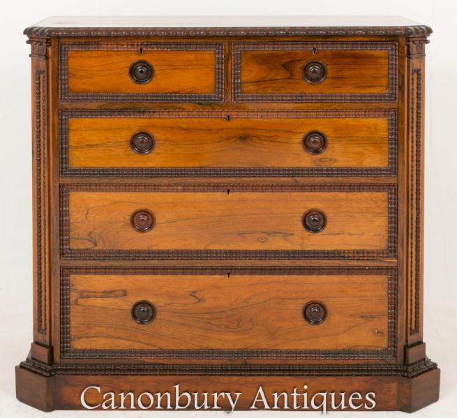 Rosewood Victorian Chest Drawers Commode 1860