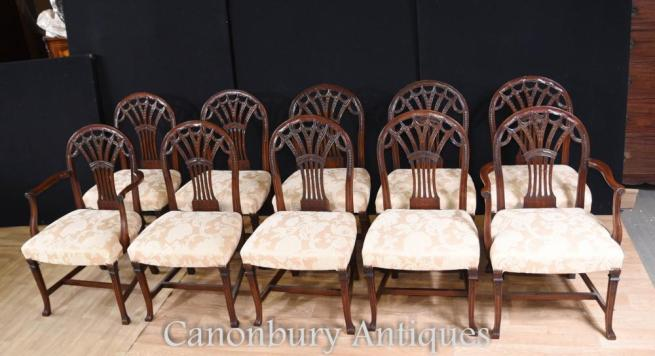 Set 10 Mahogany Hepplewhite Dining Chairs Arm Chair