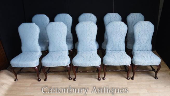 Set 10 Victorian Upholstered Dining Chairs Seats