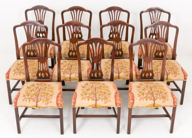 Set 11 Mahogany Hepplewhite Dining Chairs