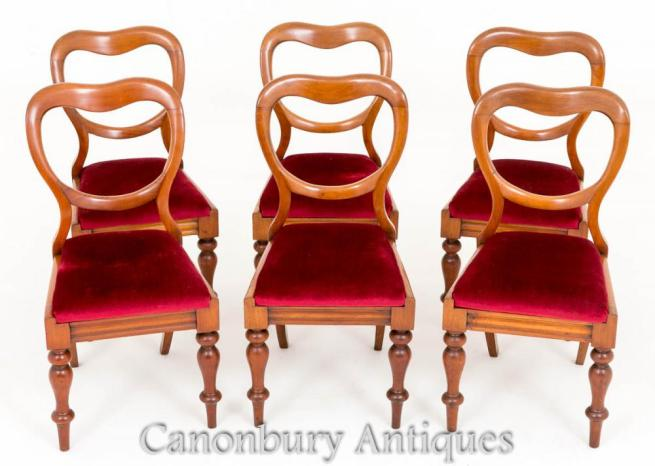 Set 6 Antique Mahogany Victorian Balloon Back Dining Chairs