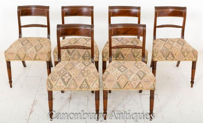 Set 6 Regency Mahogany Dining Chairs