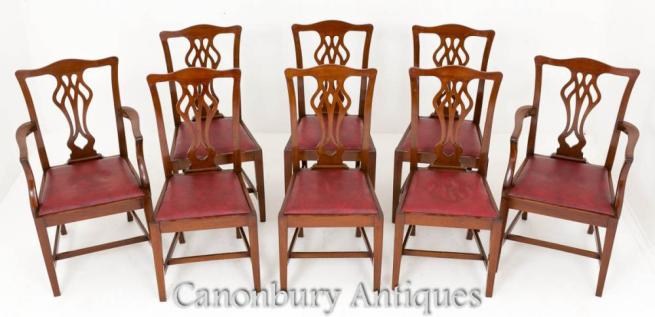 Set 8 Chippendale Dining Chairs Mahogany