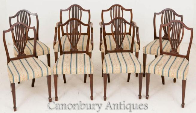Set 8 Mahogany Hepplewhite Dining Chairs