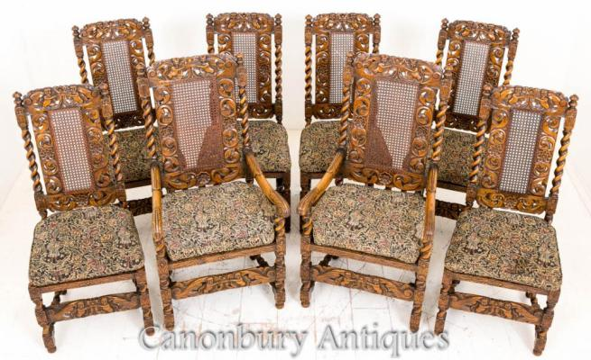 Set 8 Oak Jacobean Dining Chairs Farmhouse Furniture 1880