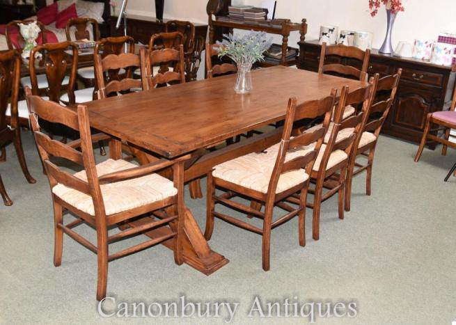 Set 8 Oak Ladderback Kitchen Dining Chairs Rush Seats