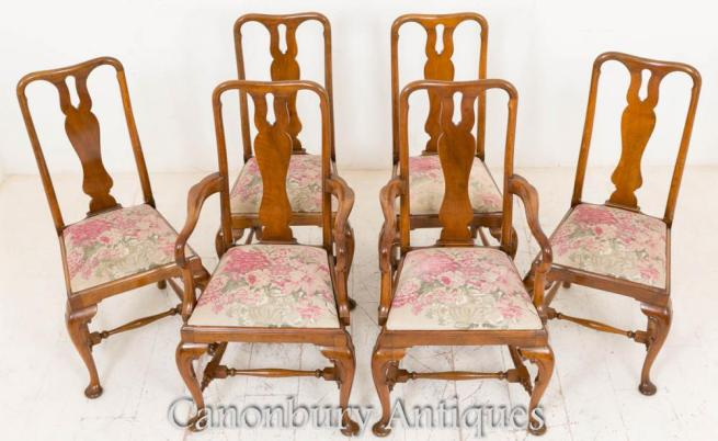 Set 8 Walnut Queen Anne Dining Chairs