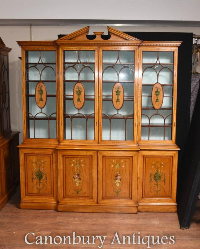 Sheraton Painted Breakfront Bookcase in Satinwood