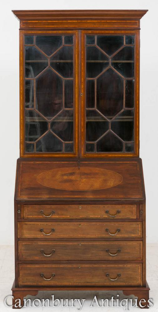 Sheraton Revival Bureau Bookcase Mahogany Glass Cabinet 1890