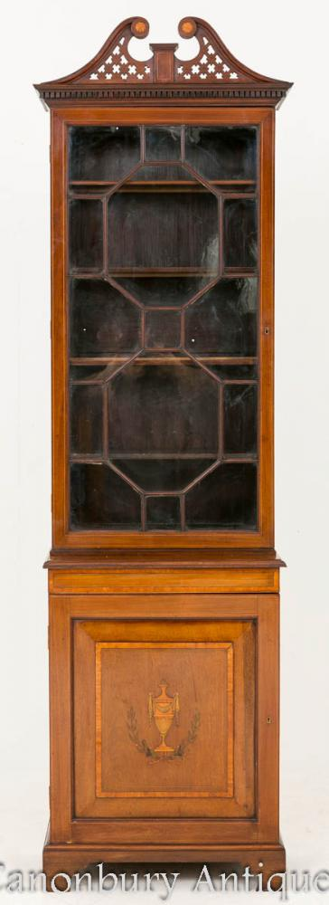 Sheraton Revival Mahogany Bookcase Display Cabinet 1860