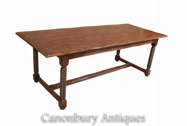 Spiral Leg Oak Refectory Table Farmhouse Furniture