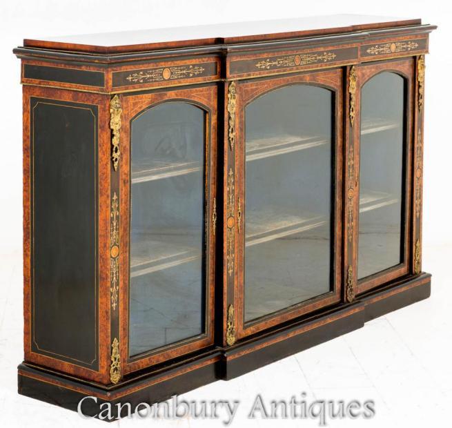 Victorian Breakfront Dsisplay Cabinet Burr Walnut 1860